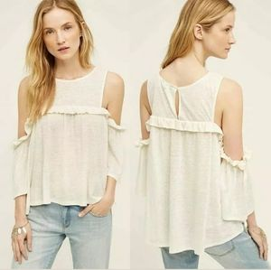 Anthropologie Meadow Rue Linen Off Shoulder Top
